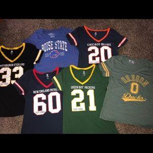 Women's NFL apparel tee shirts, Size L, 6 tops